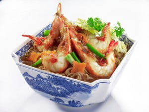 Braised Yi Mian with Prawns