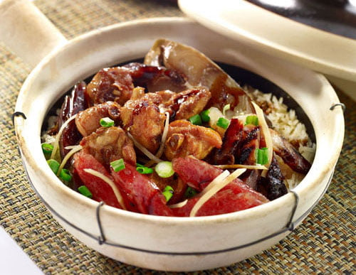 Chicken , Salted Fish & Chinese Sausage Claypot Rice