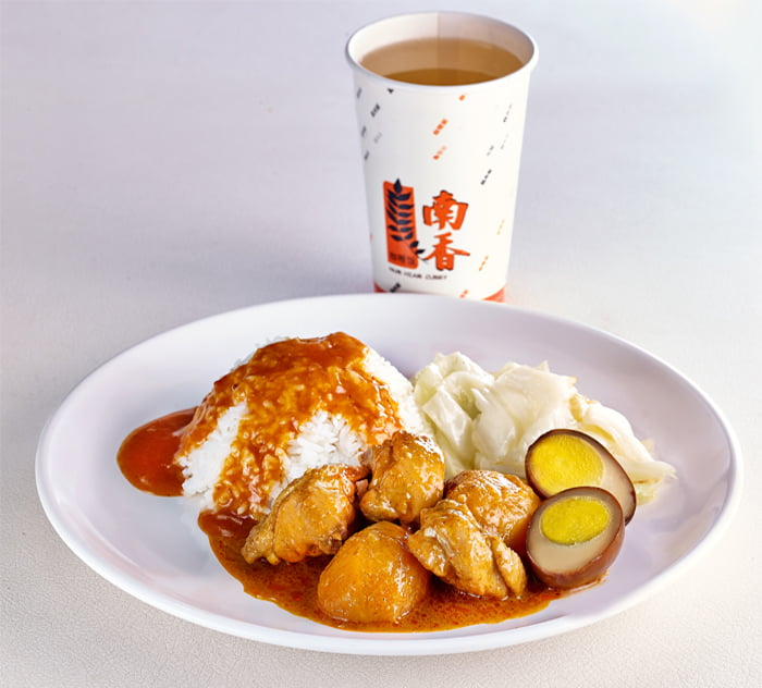 Plain Rice+Curry Chicken+Braised Egg+Cabbage+Beverage